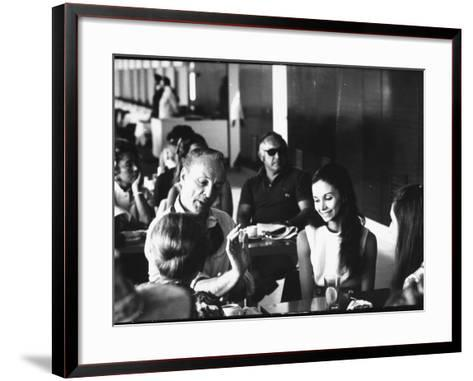 Ballet Master George Balanchine Demonstrating to Dancer Kay Mazzo During NYCB Company Tour-Gjon Mili-Framed Art Print