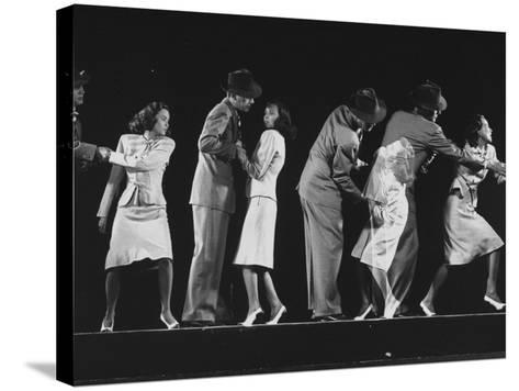 """Teresa Wright and Joseph Cotten as Characters in Hitchcock Film """"Shadow of a Doubt""""-Gjon Mili-Stretched Canvas Print"""