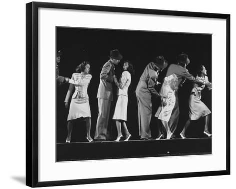 """Teresa Wright and Joseph Cotten as Characters in Hitchcock Film """"Shadow of a Doubt""""-Gjon Mili-Framed Art Print"""