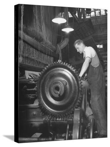 Power Loom at Work Making an Axminster Carpet at the Wilton Carpet Factory-Hans Wild-Stretched Canvas Print