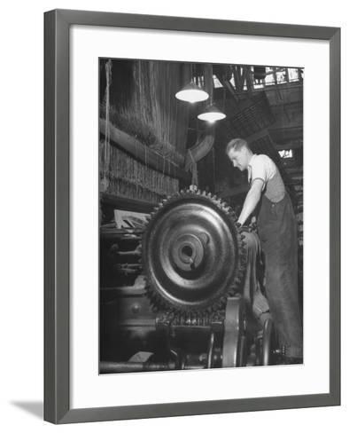 Power Loom at Work Making an Axminster Carpet at the Wilton Carpet Factory-Hans Wild-Framed Art Print