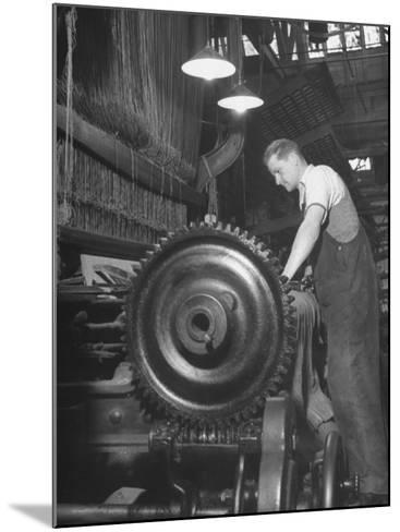 Power Loom at Work Making an Axminster Carpet at the Wilton Carpet Factory-Hans Wild-Mounted Premium Photographic Print