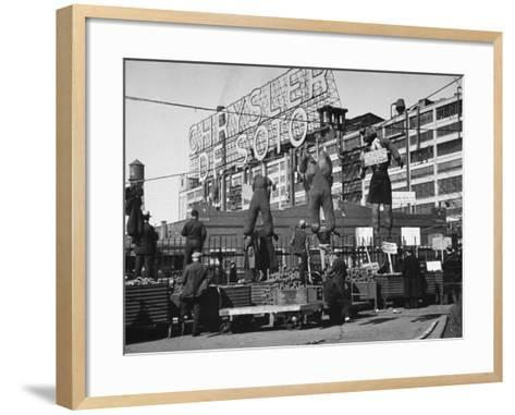 Auto Workers Conducting a Strike Against the Chrysler Plant-William Vandivert-Framed Art Print