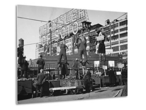 Auto Workers Conducting a Strike Against the Chrysler Plant-William Vandivert-Metal Print