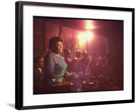 "Jazz Singer Ella Fitzgerald Performing at ""Mr. Kelly's"" Nightclub-Yale Joel-Framed Art Print"