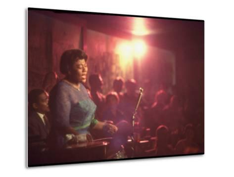 """Jazz Singer Ella Fitzgerald Performing at """"Mr. Kelly's"""" Nightclub-Yale Joel-Metal Print"""