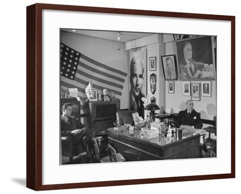 Fred Bays Sitting at His Desk at the Democratic State Headquarters-Hansel Mieth-Framed Art Print