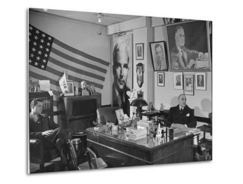Fred Bays Sitting at His Desk at the Democratic State Headquarters-Hansel Mieth-Metal Print