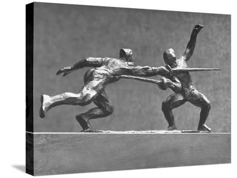 Cecil Howard's Sculpture of Two Men Fencing-Andreas Feininger-Stretched Canvas Print