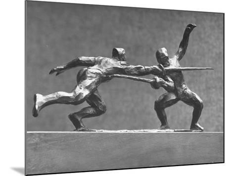 Cecil Howard's Sculpture of Two Men Fencing-Andreas Feininger-Mounted Premium Photographic Print
