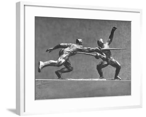 Cecil Howard's Sculpture of Two Men Fencing-Andreas Feininger-Framed Art Print