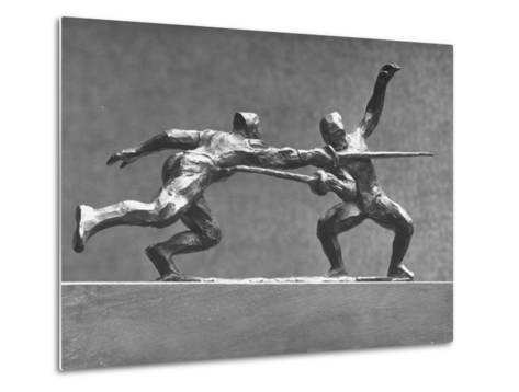 Cecil Howard's Sculpture of Two Men Fencing-Andreas Feininger-Metal Print