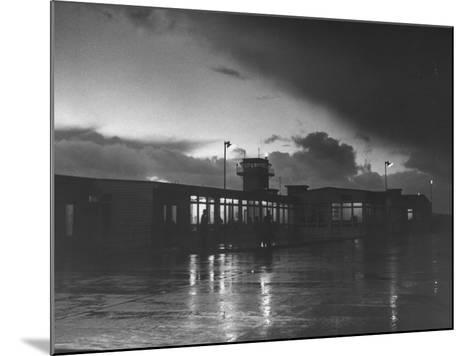 View of Airport and Runway at Dusk-Nat Farbman-Mounted Premium Photographic Print