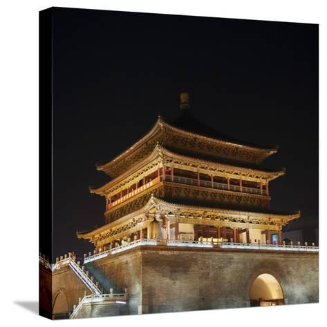 China, Shaanxi Province, Xian, Night View of Ancient Drum Tower-Keren Su-Stretched Canvas Print