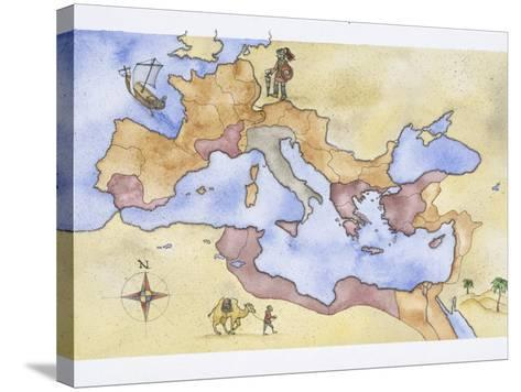 Ancient Rome, Map of Roman Empire, Illustration--Stretched Canvas Print