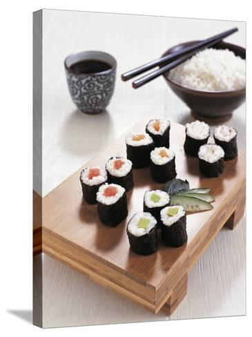 Close-Up of Sushi Rolls with a Bowl of Rice and Chopsticks--Stretched Canvas Print