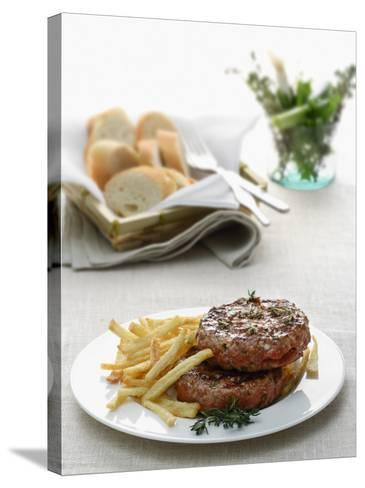 Close-Up of a Hamburger with Herbs and French Fries--Stretched Canvas Print