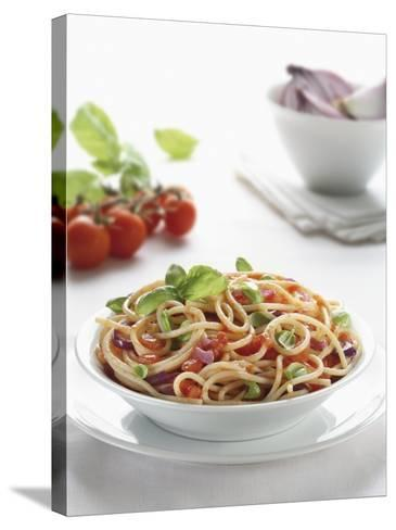 Close-Up of Spaghetti with Fresh Tomatoes--Stretched Canvas Print