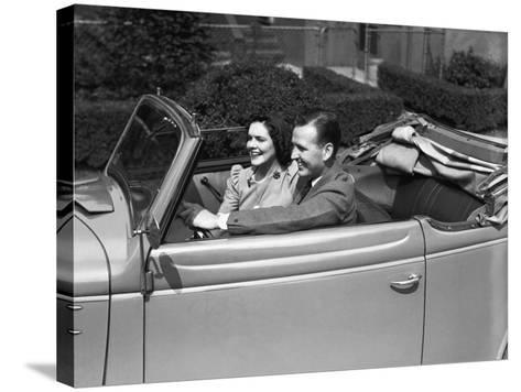 Couple Riding in Old Fashion Convertible Car-George Marks-Stretched Canvas Print