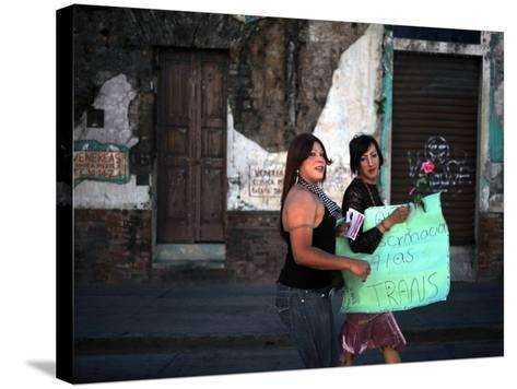 Transsexuals March in Guatemala City On-Eitan Abramovich-Stretched Canvas Print