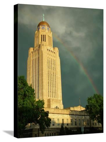 Nebraska, Lincoln, a Rainbow Wraps the State Capitol Building-George Burba-Stretched Canvas Print