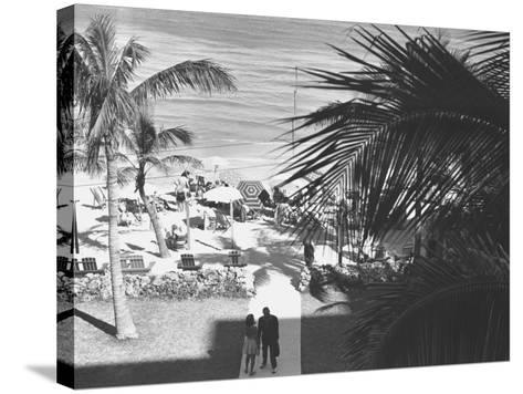 Couple Walking in Path Towards Beach, (B&W), Elevated View-George Marks-Stretched Canvas Print