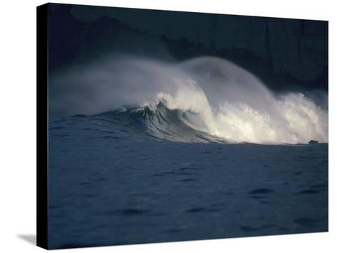 Detailed View of Curling Waves in the Surf under a Black Sky-Jeff Foott-Stretched Canvas Print