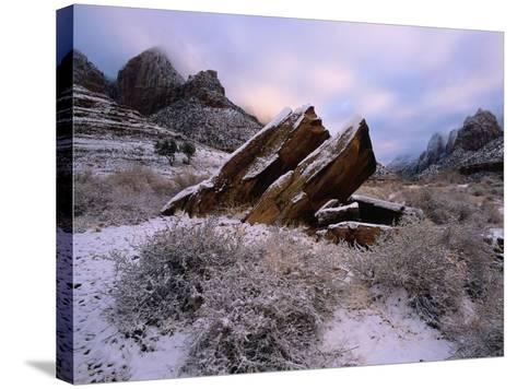 Rocks Rest at Bizarre Angles on the Ground in the Winter-Jeff Foott-Stretched Canvas Print