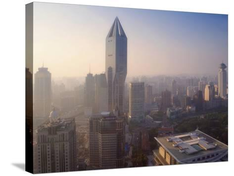 China, Shanghai, Morning View of Tomorrow Square and Shanghai Urban Planning Exhibition Hall-Keren Su-Stretched Canvas Print