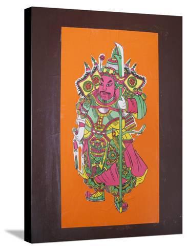 China, Hong Kong, Poster of General Guan Yu, Guarding God, to Drive Away Evil-Keren Su-Stretched Canvas Print
