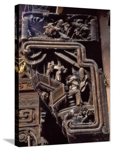 China, Zhejiang Province, Intricate Wood Carving on Traditional Architecture-Keren Su-Stretched Canvas Print