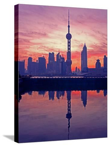 China, Shanghai, Oriental Pearl Tv Tower with Pudong Skyline at Sunrise-Keren Su-Stretched Canvas Print