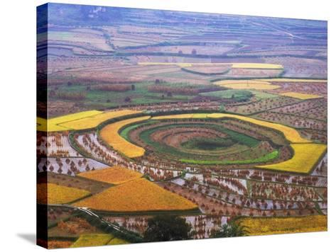 China, Guizhou Province, Round Shaped Rice Paddy after Harvest-Keren Su-Stretched Canvas Print