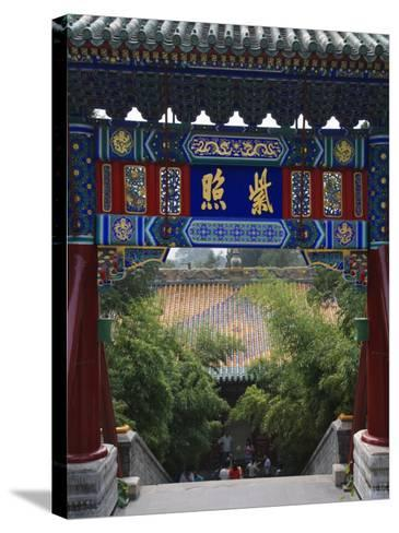 China, Beijing, Traditional Architecture in Beihai Park-Keren Su-Stretched Canvas Print