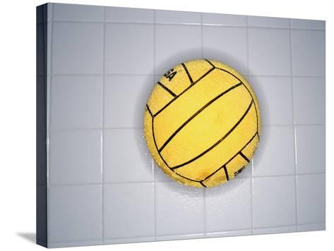 Water Polo Ball on Tile, Overhead View--Stretched Canvas Print