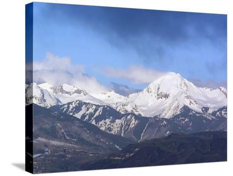 Colorado, Snow Mass Village, Sunrise Light and Cloud Swirl About Mt--Stretched Canvas Print