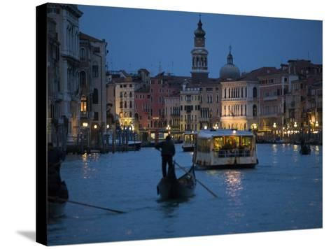 Night-Time on Grand Canal, Venice--Stretched Canvas Print