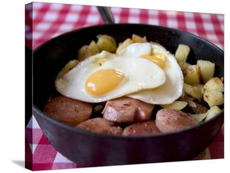 Fried Sausages, Potatoes and Eggs--Stretched Canvas Print