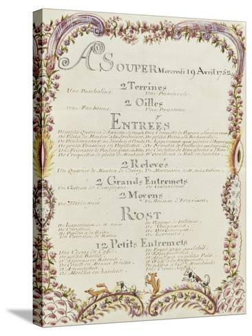 """"""" Voyages du roi au château de Choisy """" en 1752 : souper du mercredi 19 avril 1752-de Sainte Marie Brain-Stretched Canvas Print"""