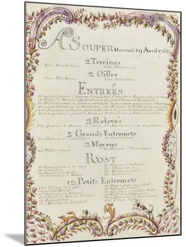 """"""" Voyages du roi au château de Choisy """" en 1752 : souper du mercredi 19 avril 1752-de Sainte Marie Brain-Mounted Giclee Print"""