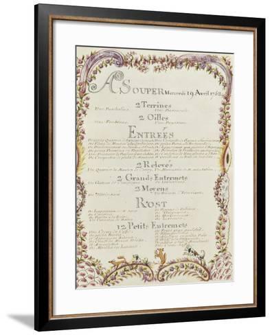 """"""" Voyages du roi au château de Choisy """" en 1752 : souper du mercredi 19 avril 1752-de Sainte Marie Brain-Framed Art Print"""