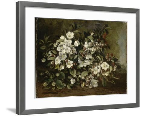 A Branch of Apple Blossoms also Said Cherry Blossoms-Gustave Courbet-Framed Art Print