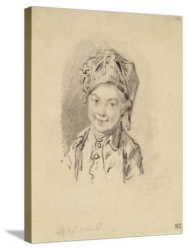 Album factice : Buste de jeune garçon, coiffé d'un bonnet-Augustin De Saint-aubin-Stretched Canvas Print