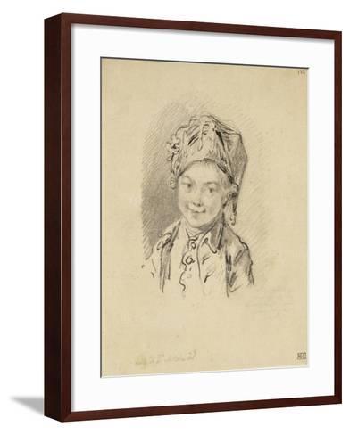 Album factice : Buste de jeune garçon, coiffé d'un bonnet-Augustin De Saint-aubin-Framed Art Print