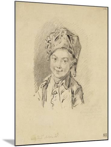 Album factice : Buste de jeune garçon, coiffé d'un bonnet-Augustin De Saint-aubin-Mounted Giclee Print