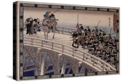 Acte XI, attaque nocturne, 4 : la retraite-Ando Hiroshige-Stretched Canvas Print