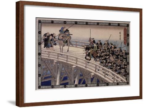 Acte XI, attaque nocturne, 4 : la retraite-Ando Hiroshige-Framed Art Print