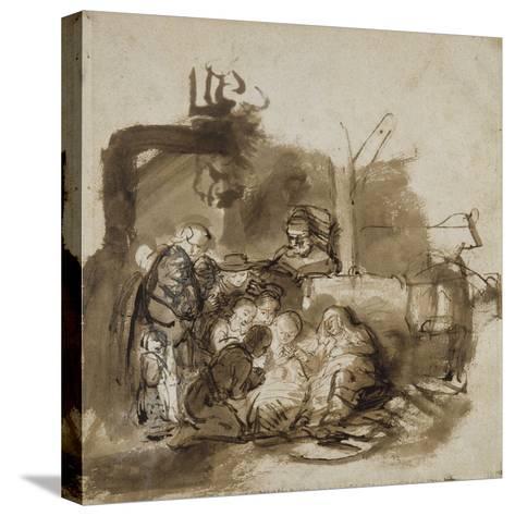 Adoration des bergers-Rembrandt van Rijn-Stretched Canvas Print