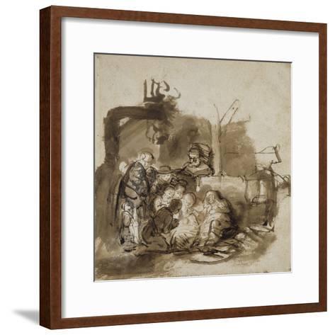 Adoration des bergers-Rembrandt van Rijn-Framed Art Print