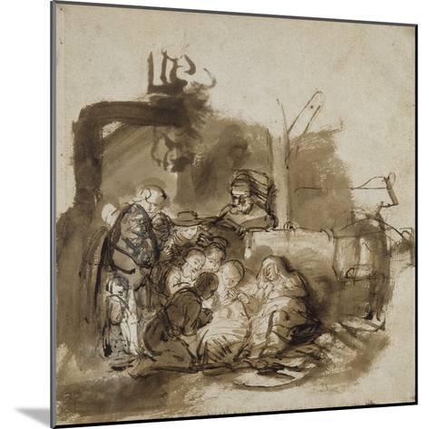 Adoration des bergers-Rembrandt van Rijn-Mounted Giclee Print
